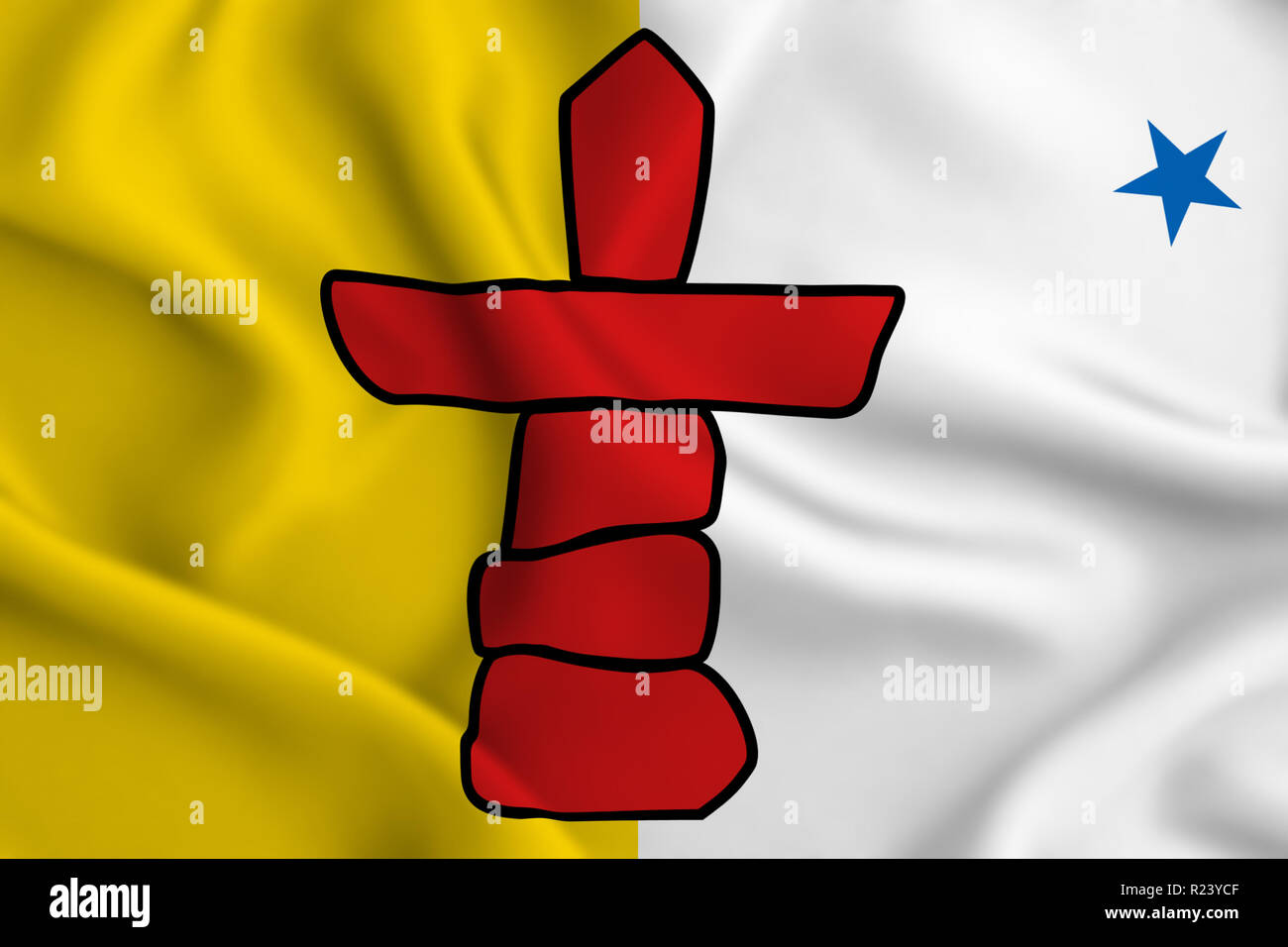 Nunavut 3D waving flag illustration. Texture can be used as background. - Stock Image