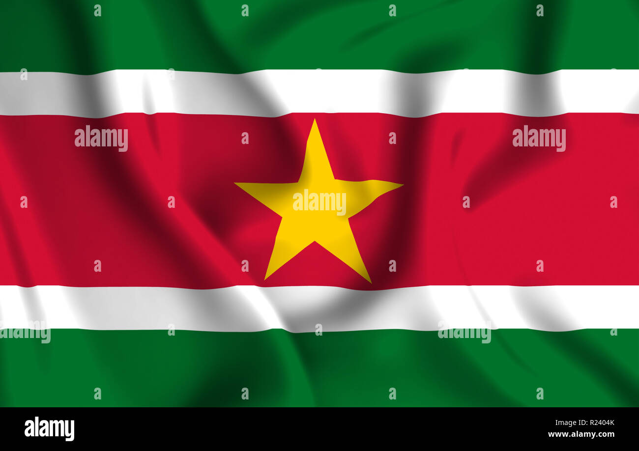 Suriname 3D waving flag illustration. Texture can be used as background. - Stock Image
