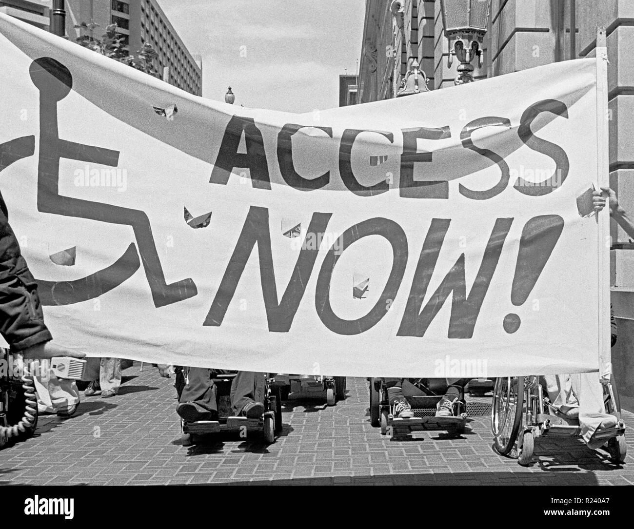 disabled activist protest lack of access to public transportation in San Francisco,. California, /1978 - Stock Image