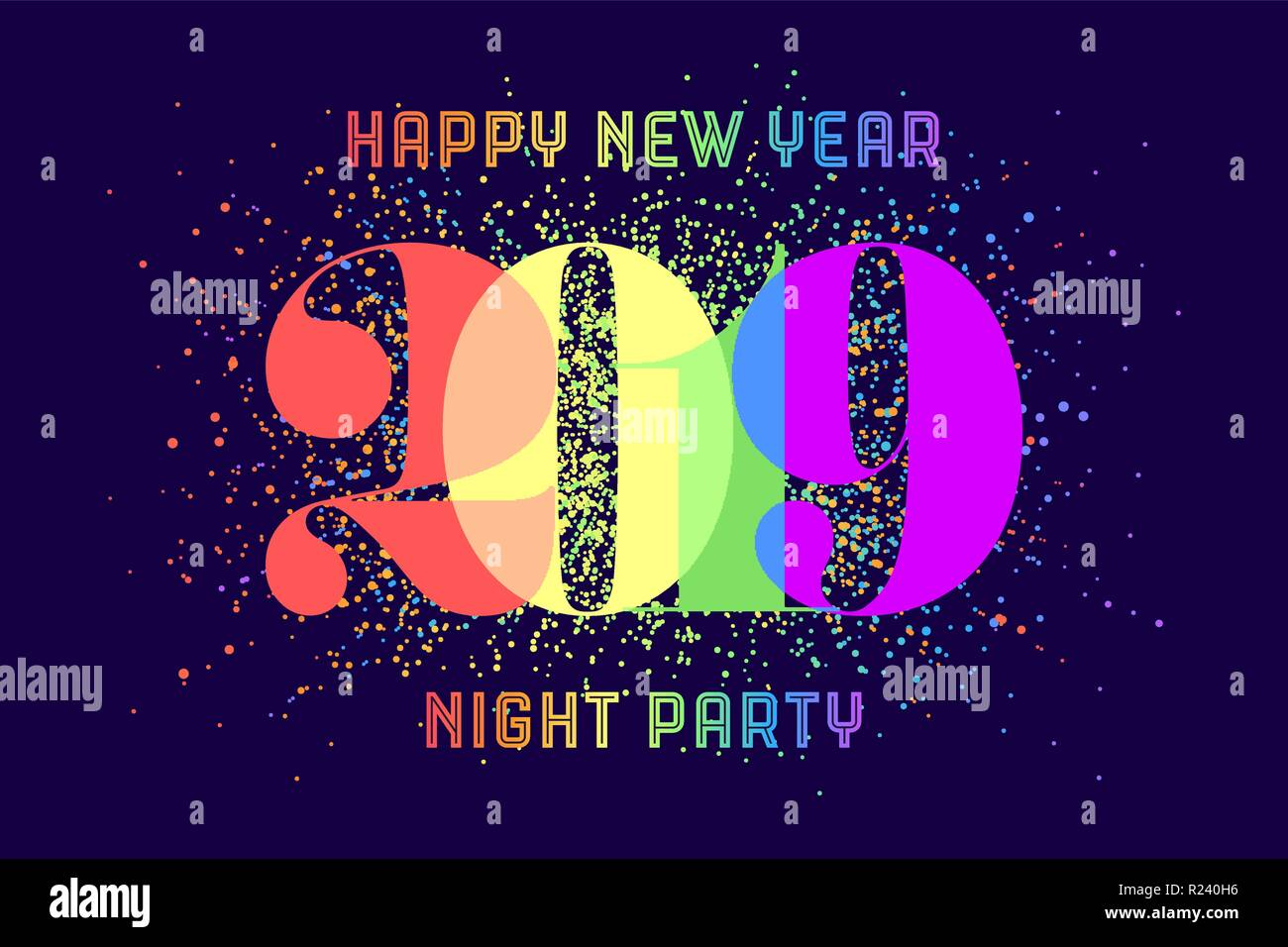 happy new year greeting card with colorful rainbow