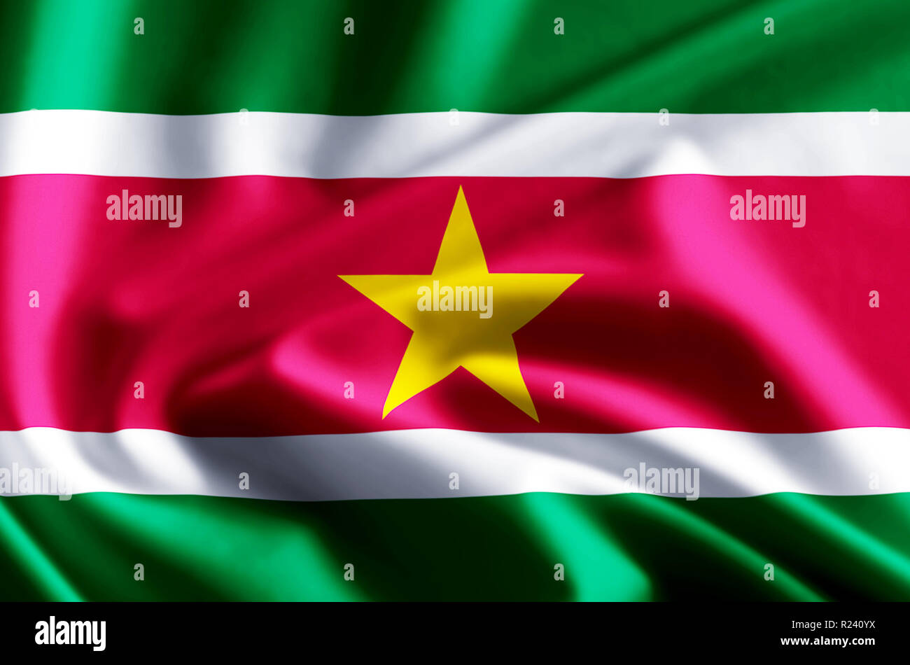 Suriname 3D waving and closeup flag illustration with reflections. Usable for background and texture. - Stock Image