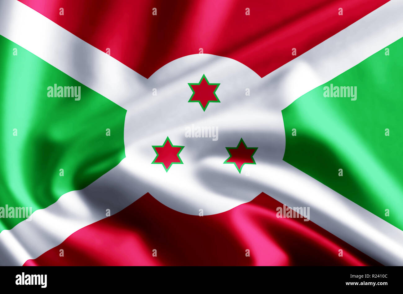 Burundi 3D waving and closeup flag illustration with reflections. Usable for background and texture. Stock Photo