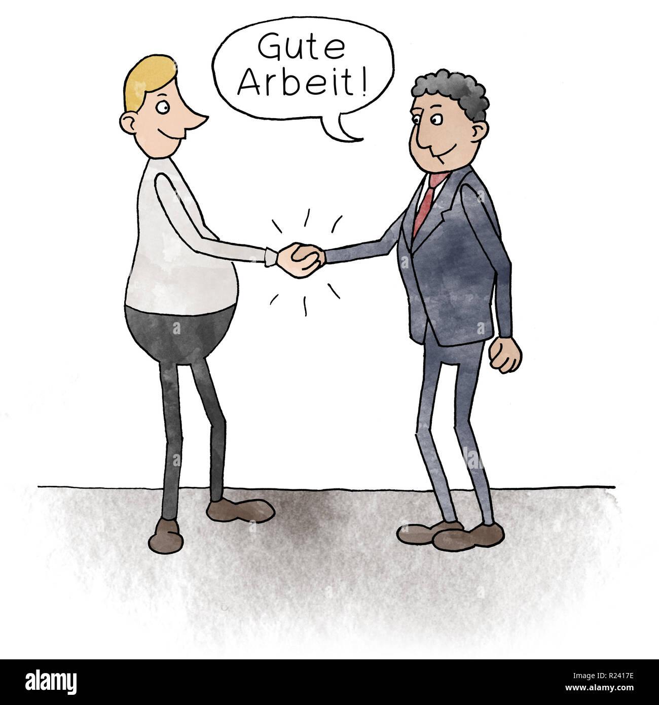 Cartoon zwei Geschäftsmänner geben sich die Hand mit Sprechblase: Gute Arbeit - Stock Image