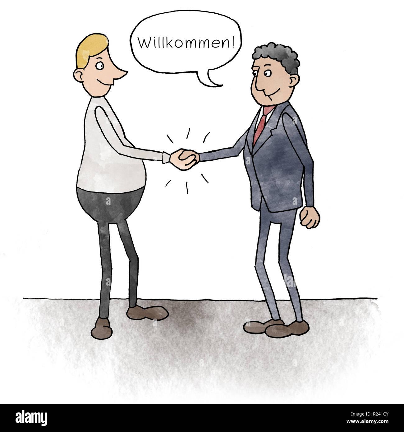 Cartoon zwei Geschäftsmänner geben sich die Hand mit Sprechblase: Willkommen Stock Photo