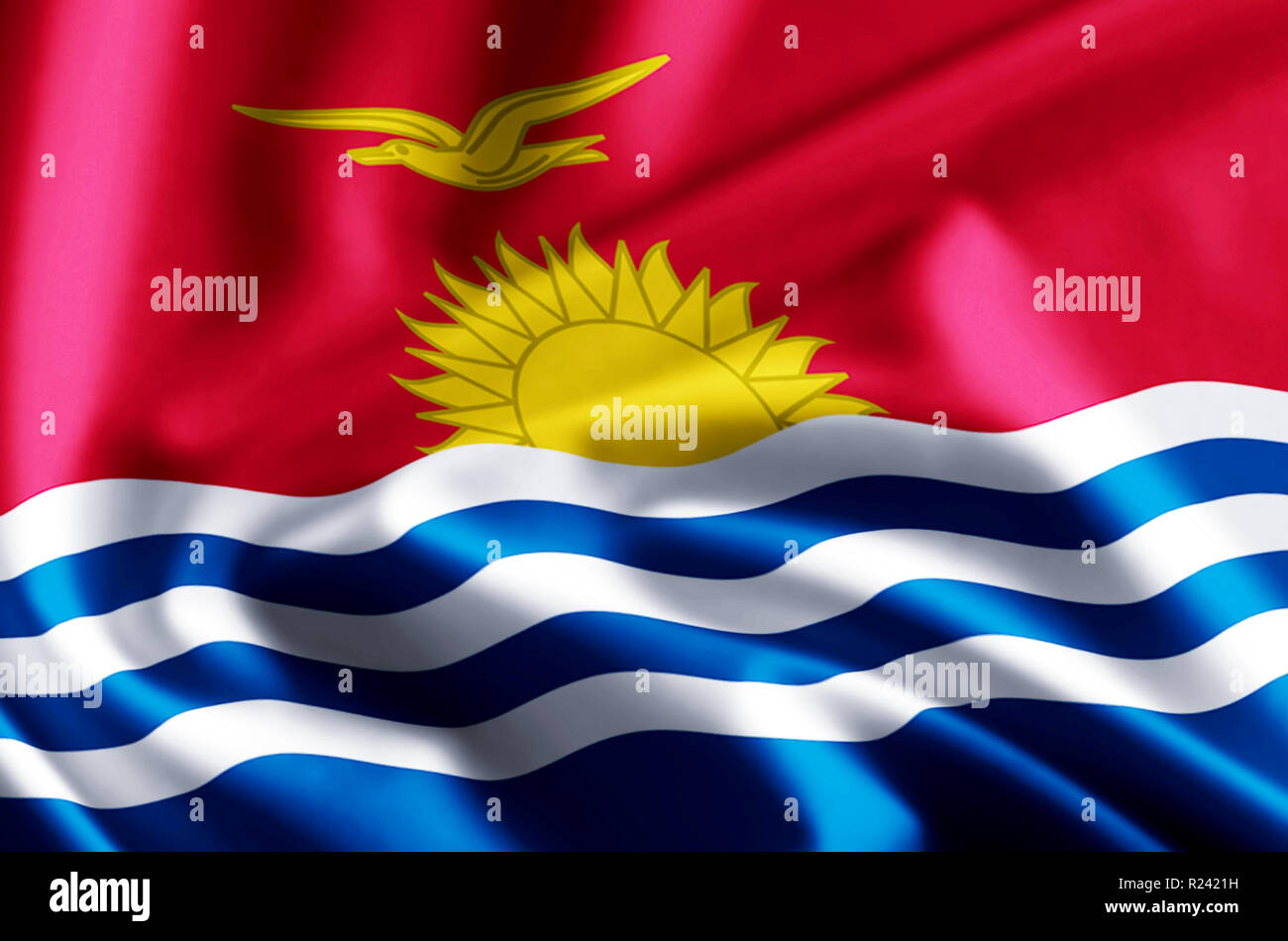 Kiribati 3D waving and closeup flag illustration with reflections. Usable for background and texture. - Stock Image
