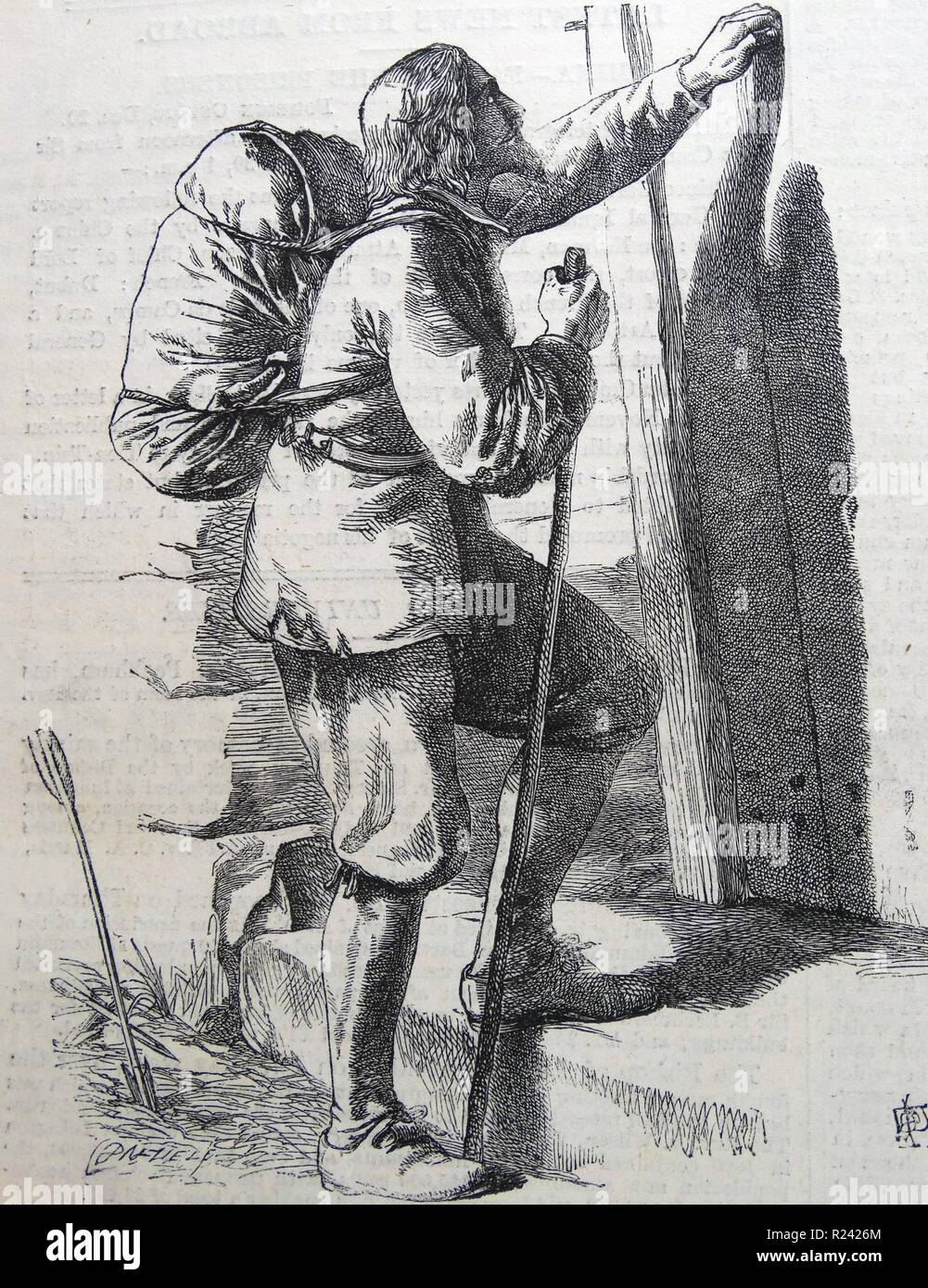 Engraving depicting a Christian knocking on a Gate. Taken from the 'Pilgrim's Progress'. Dated 1860 - Stock Image