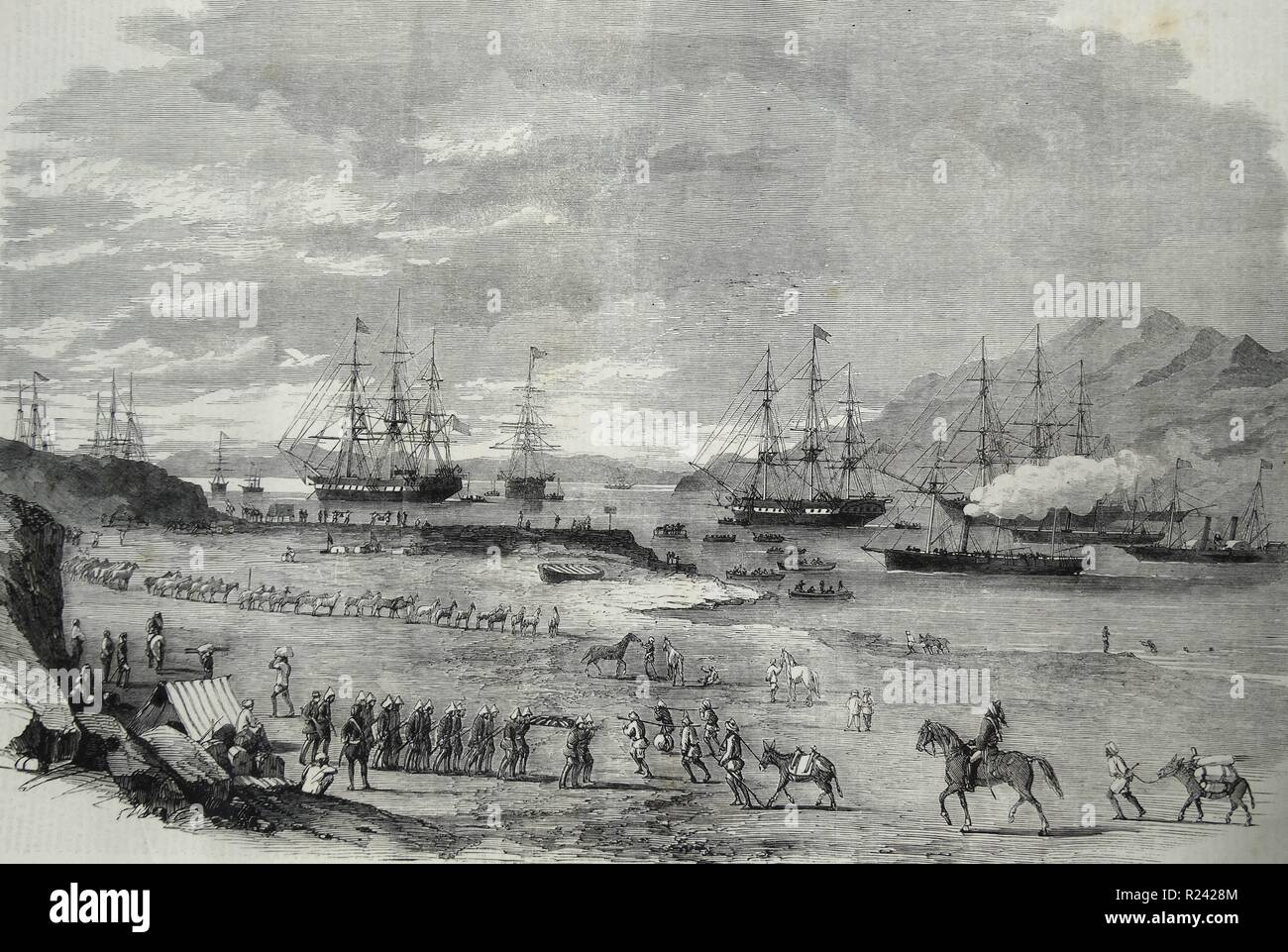 Engraving depicting the departure of troops from Hockley Pier for the Peiho. Dated 1860 - Stock Image