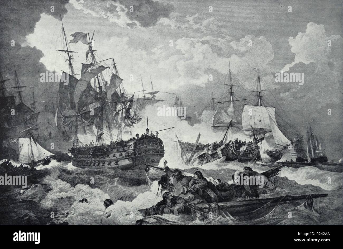 Line engraving depicting the Battle of Camperdown. Duncan in the Venerable to Leeward of the dismasted Vrijheid. Engraved by J. Fittler. Dated 1797 - Stock Image
