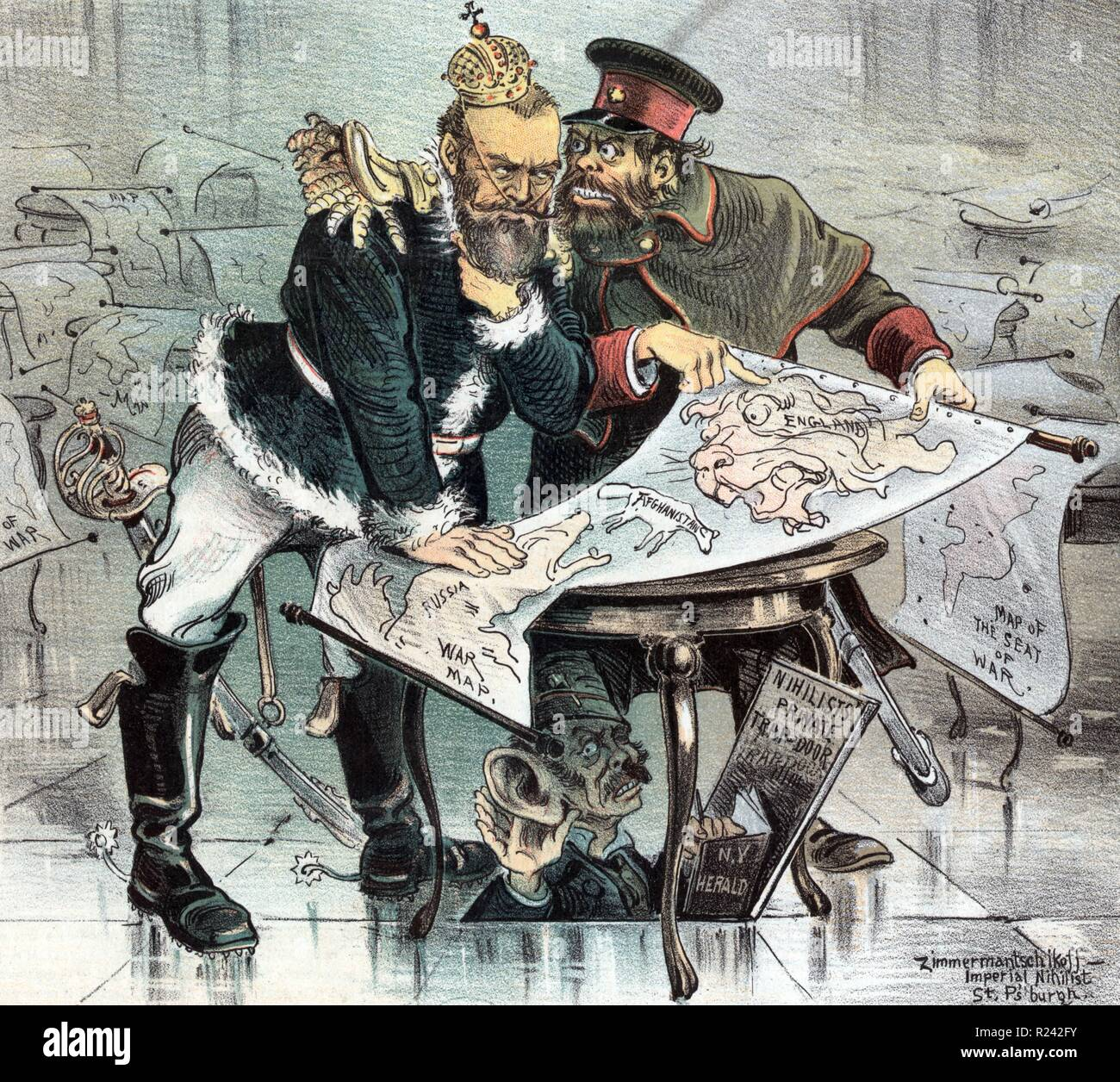 Nicholas II and General Obruchev looking over a 'War Map' with 'Russia' on one side, 'England' on the other, and 'Afghanistan' between them; beneath the table, having come through a trap door, is 'the Herald's Special Correspondent'. Dated 1885 - Stock Image