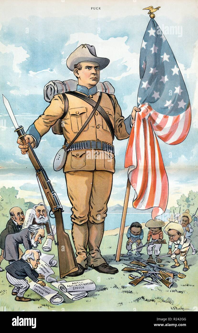 Illustration shows George F. Hoar, Carl Schurz, David B. Hill, and former Massachusetts Governor George S. Boutwell, anti-expansionists, placing their 'Anti-Expansion Speech' at the feet of a huge American soldier holding a rifle and the American flag, while opposite them Filipinos place guns and swords at the soldier's feet. 1902 - Stock Image