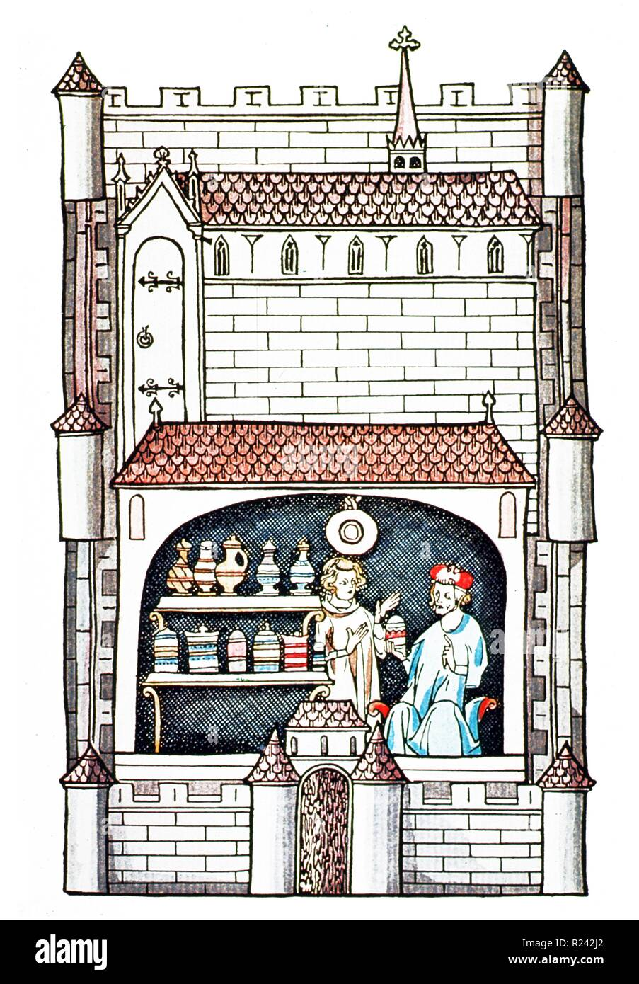 medieval woodcut of a pharmacist. The first pharmacopoeia was published in Nuremberg, Germany in 1542 - Stock Image