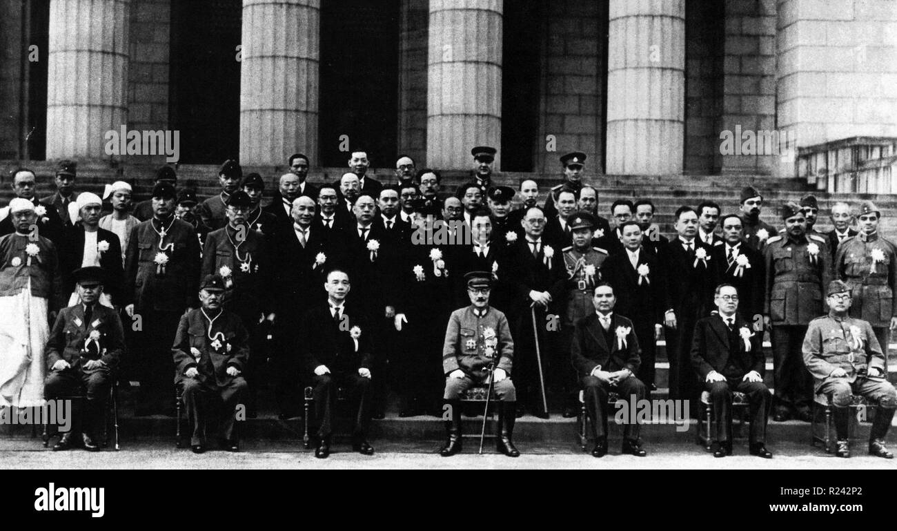 Participants of the Greater East Asia Conference. Left to right front row, Zhang Jinghui, Wang Jingwei, Hideki T?j?, Wan Waithayakon, JosAc P. Laurel, Subhas Chandra Bose. The Conference held in Tokyo from 5 to 6 November 1943, was referred to as the Tokyo Conference. - Stock Image