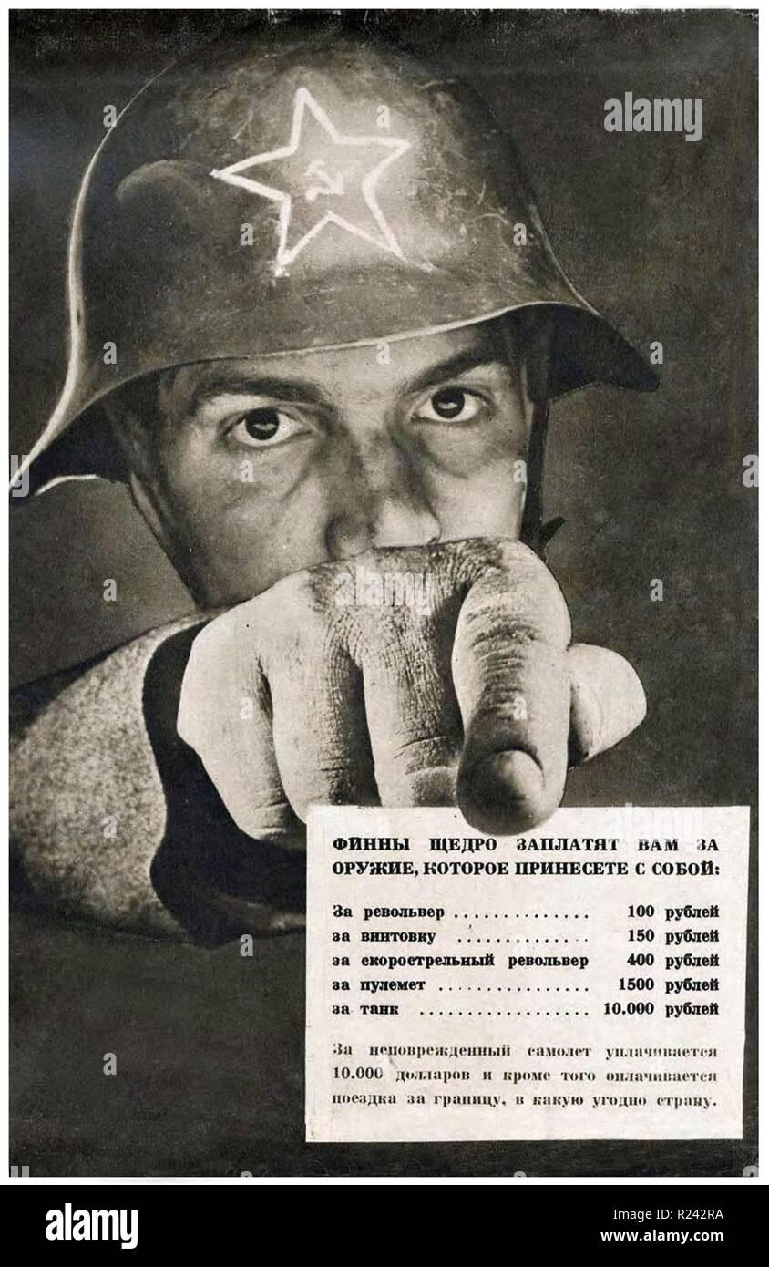 Finnish propaganda poster, 1939 Stock Photo