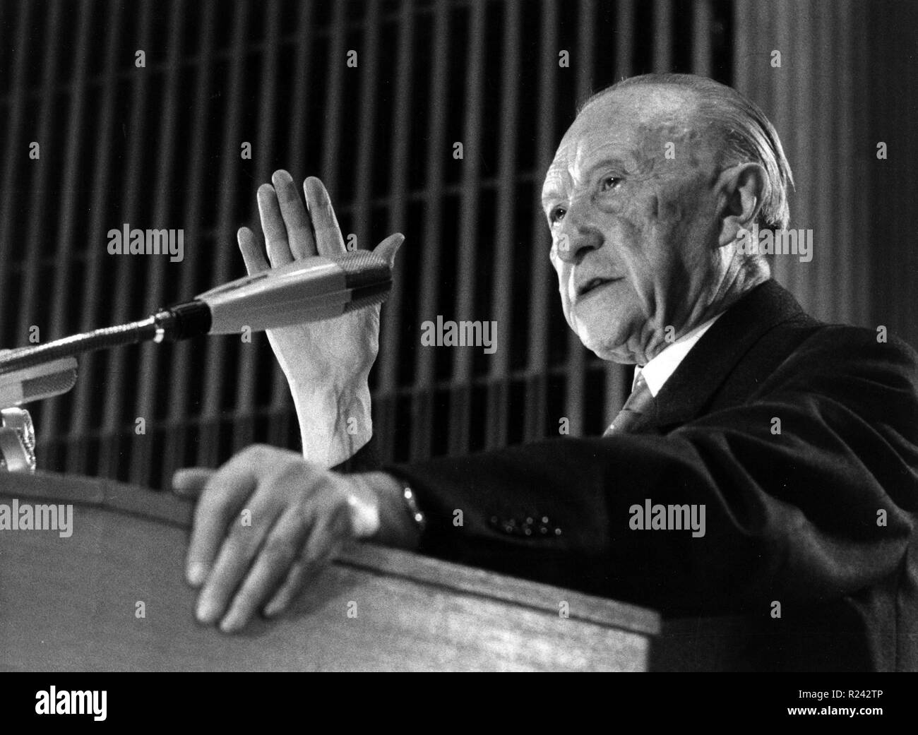 Konrad Hermann Josef Adenauer was a German statesman. As the first post-war Chancellor of Germany from 1949 to 1963, he led his country from the ruins of World War II - Stock Image