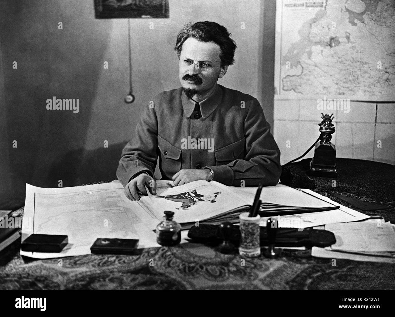 Leon Trotsky 1879 - 21 August 1940. Marxist revolutionary and theorist, Soviet politician, and the founder and first leader of the Red Army - Stock Image