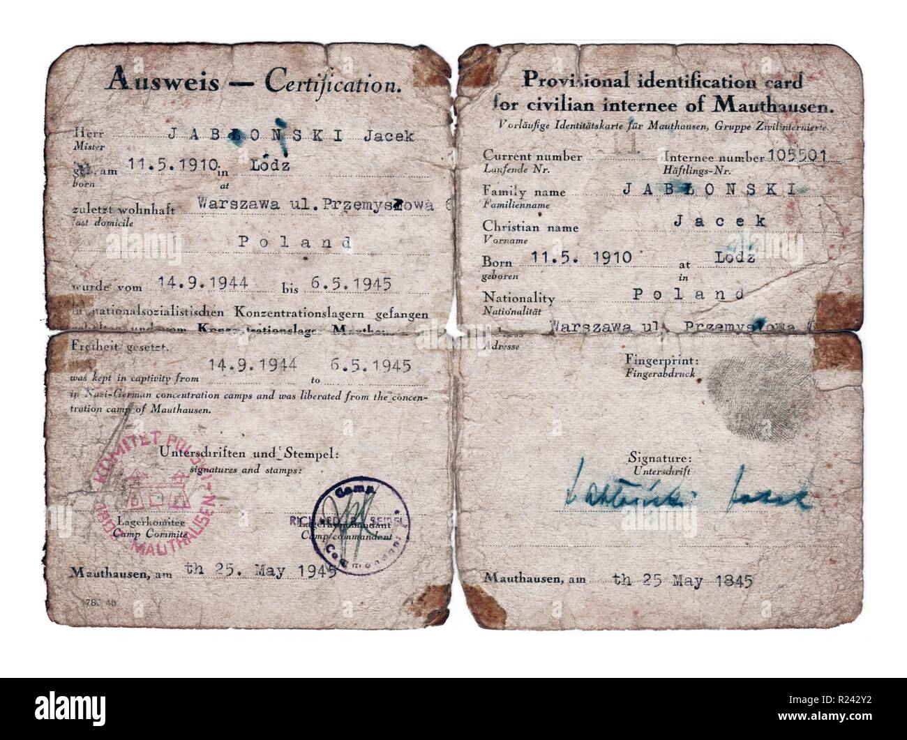 World War Two; Post-liberation identification paper for a former Mauthausen Concentration Camp prisoner called Jacek Jablonski 1945 - Stock Image