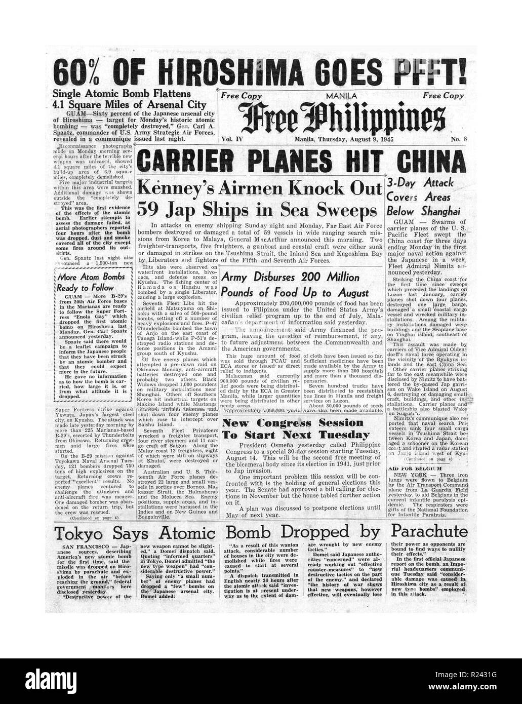 Headline front page on the 'Free Philippines' newspaper of 9th August 1945 describes the atom bomb dropped on Hiroshima in Japan at the end of world war two - Stock Image
