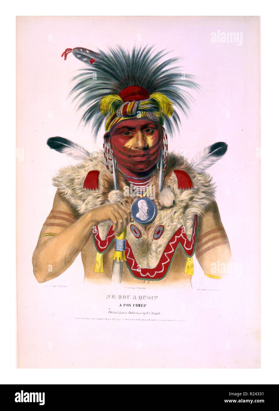 Ne-Sou-A Quoit, a Fox chief wearing elaborate headdress, earrings, necklace, and fur shoulder garment, as well as a portrait medallion around his neck. The Mesquakie (Meskwaki) are a Native American tribe often known to outsiders as the Fox tribe. They are often closely linked to the Sauk people. c.1838 - Stock Image
