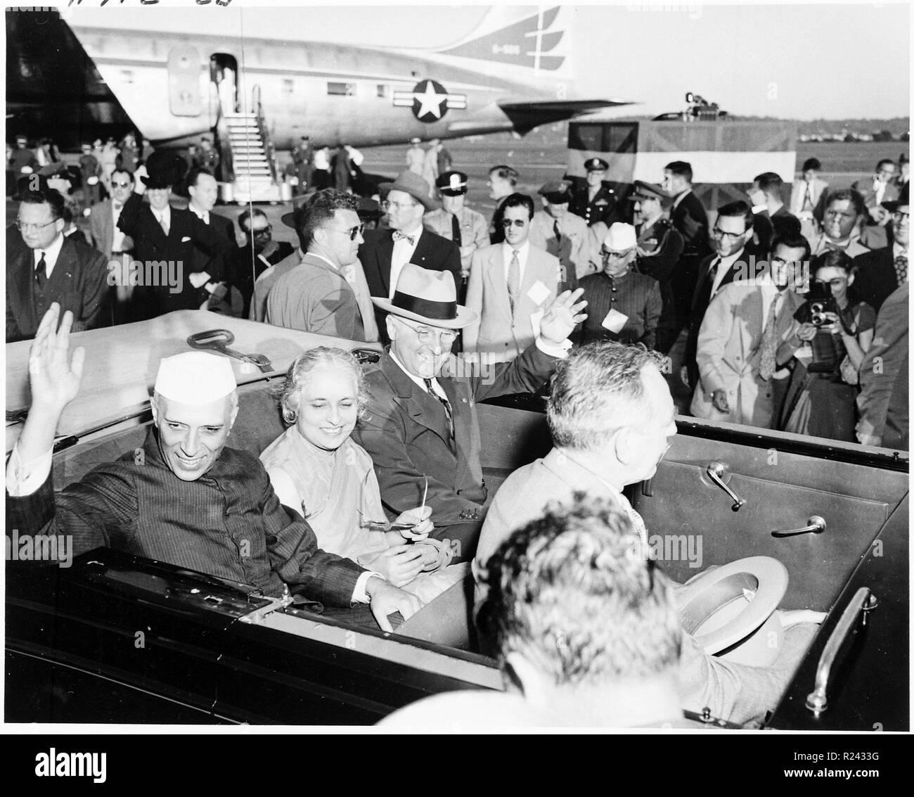 President Truman and Indian Prime Minister Jawaharlal Nehru, with Nehru's sister Madame Pandit in Washington DC 1949 - Stock Image