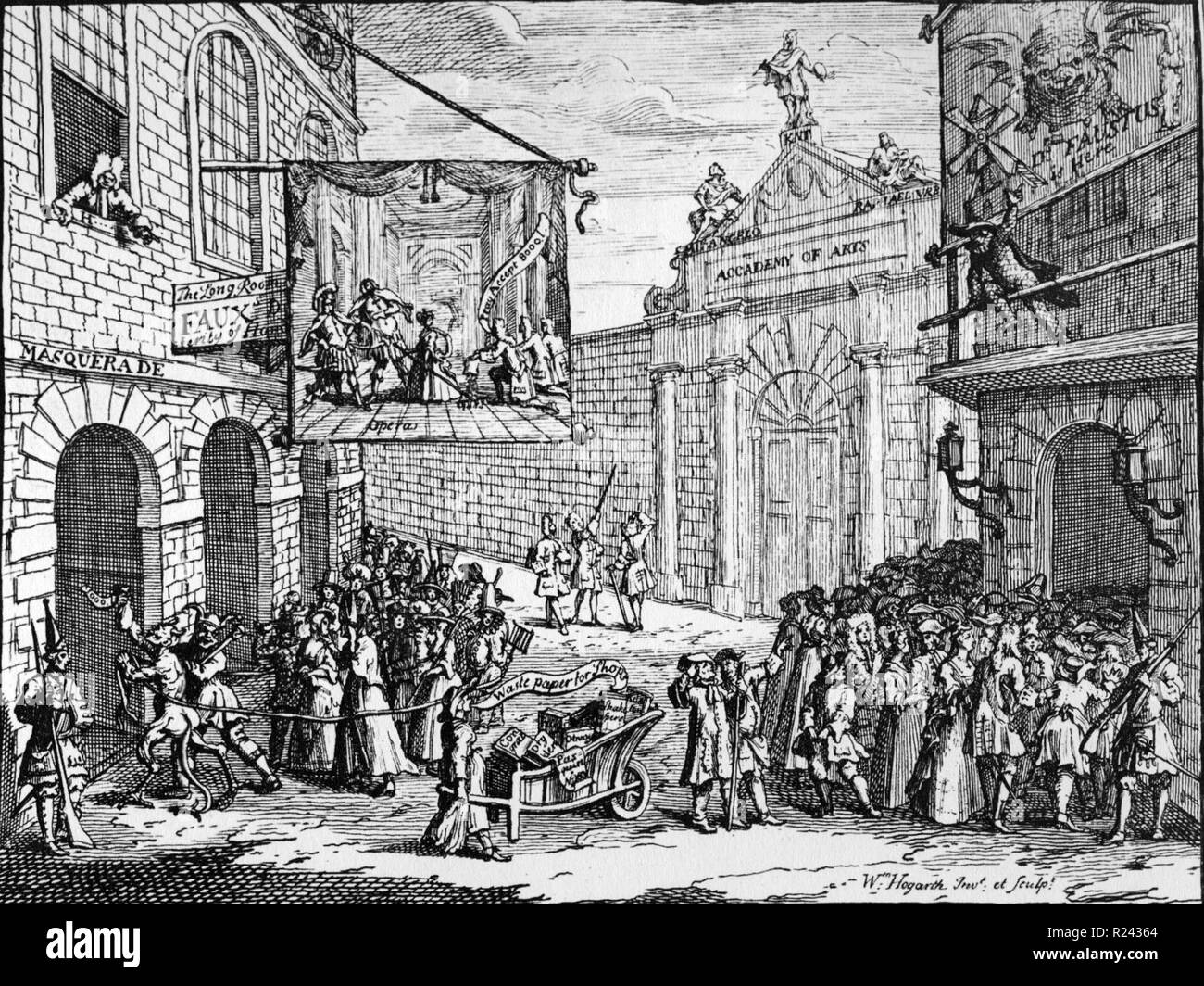 Engraving by British artist & engraver, William Hogarth 1697-1764: The Bad Taste of the Town (also known as Masquerades and Operas) is an early print by William Hogarth, published in February 1723/24 18th century - Stock Image