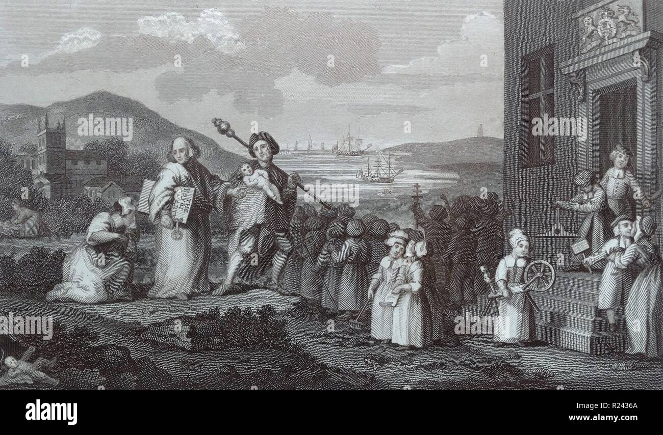 Engraving by British artist & engraver, William Hogarth 1697-1764: the  Foundlings (orphans) 1761 18th century
