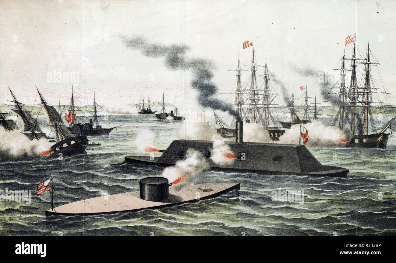 Colour lithograph print shows the Monitor and the Merrimack firing at each other during battle, with other battleships in the background, one sinking on the left. Dated 1862 - Stock Image