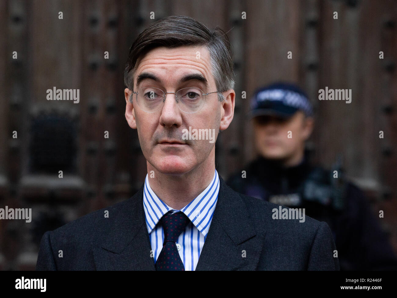 Brexiteer, Jacob Rees-Mogg, outlines his views about the Brexit deal that Theresa May is drawing up. - Stock Image
