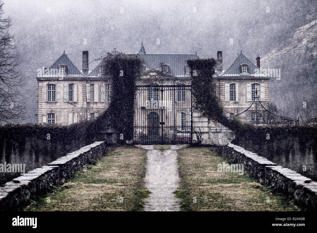 6d3b8193cf0b Abandoned mansion in the mountain Stock Photo  225055835 - Alamy