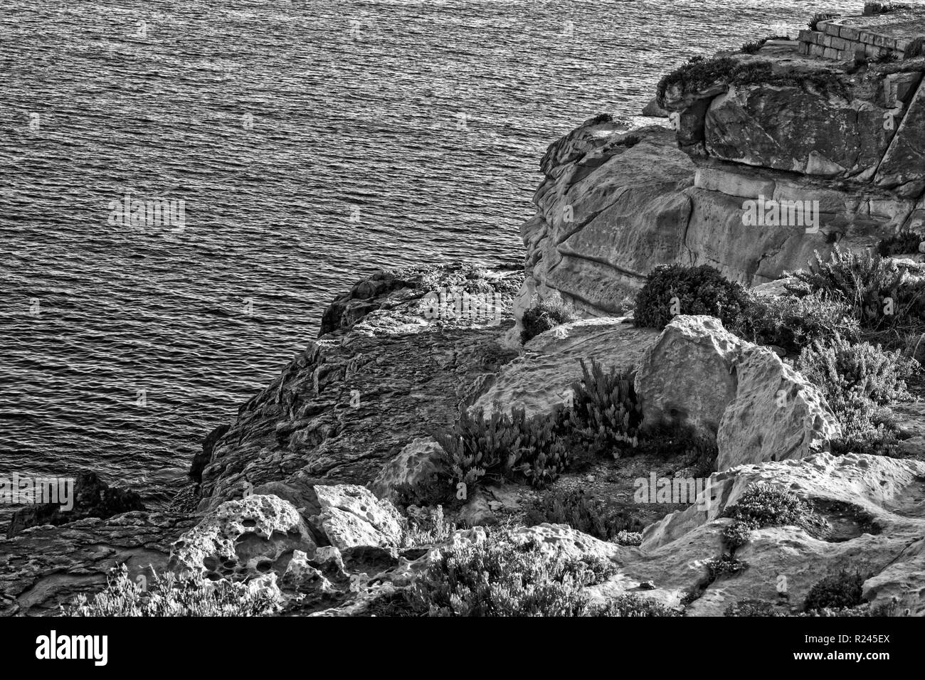 Rocks on the Beach in black and white - Stock Image