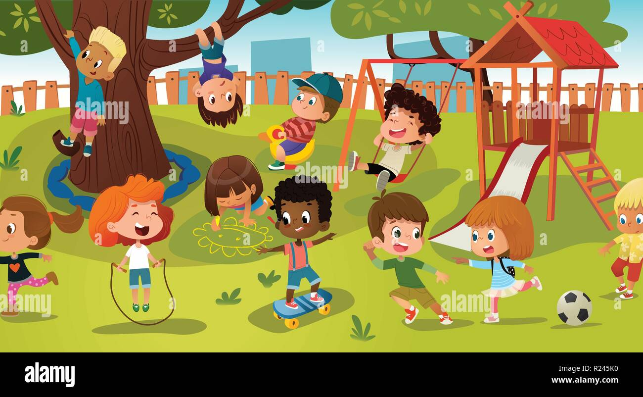 Group of kids playing game on a public park or school playground with with swings, slides, skate, ball, crayons, rope, playing catch-up game. Happy childhood. Modern vector illustration. Clipart. Stock Vector