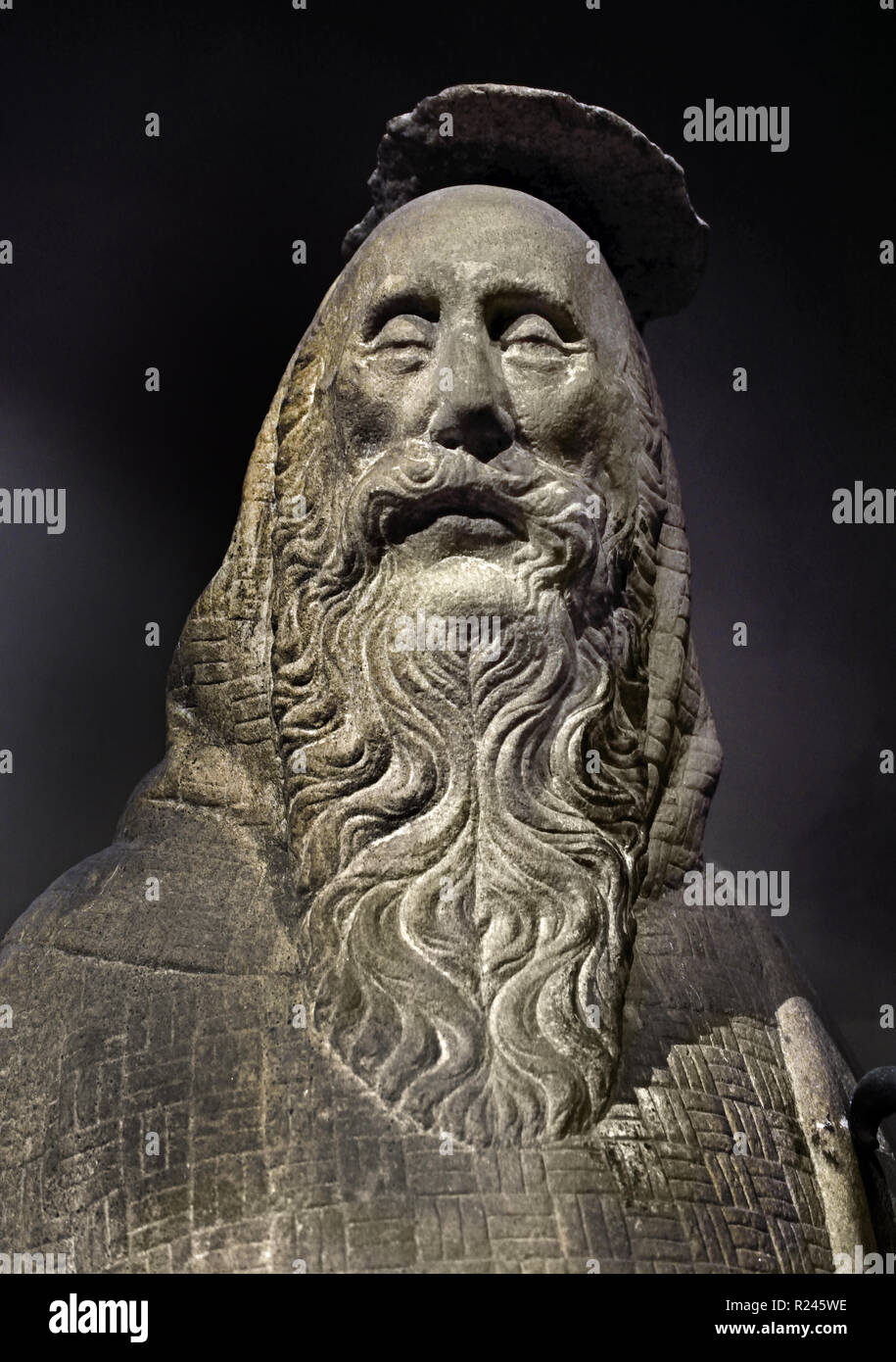 St Paul the Hermit ( Milanese Sculptor) 15th Century Museum - Milan Cathedral (Duomo di Milano) Italy, Italian. - Stock Image