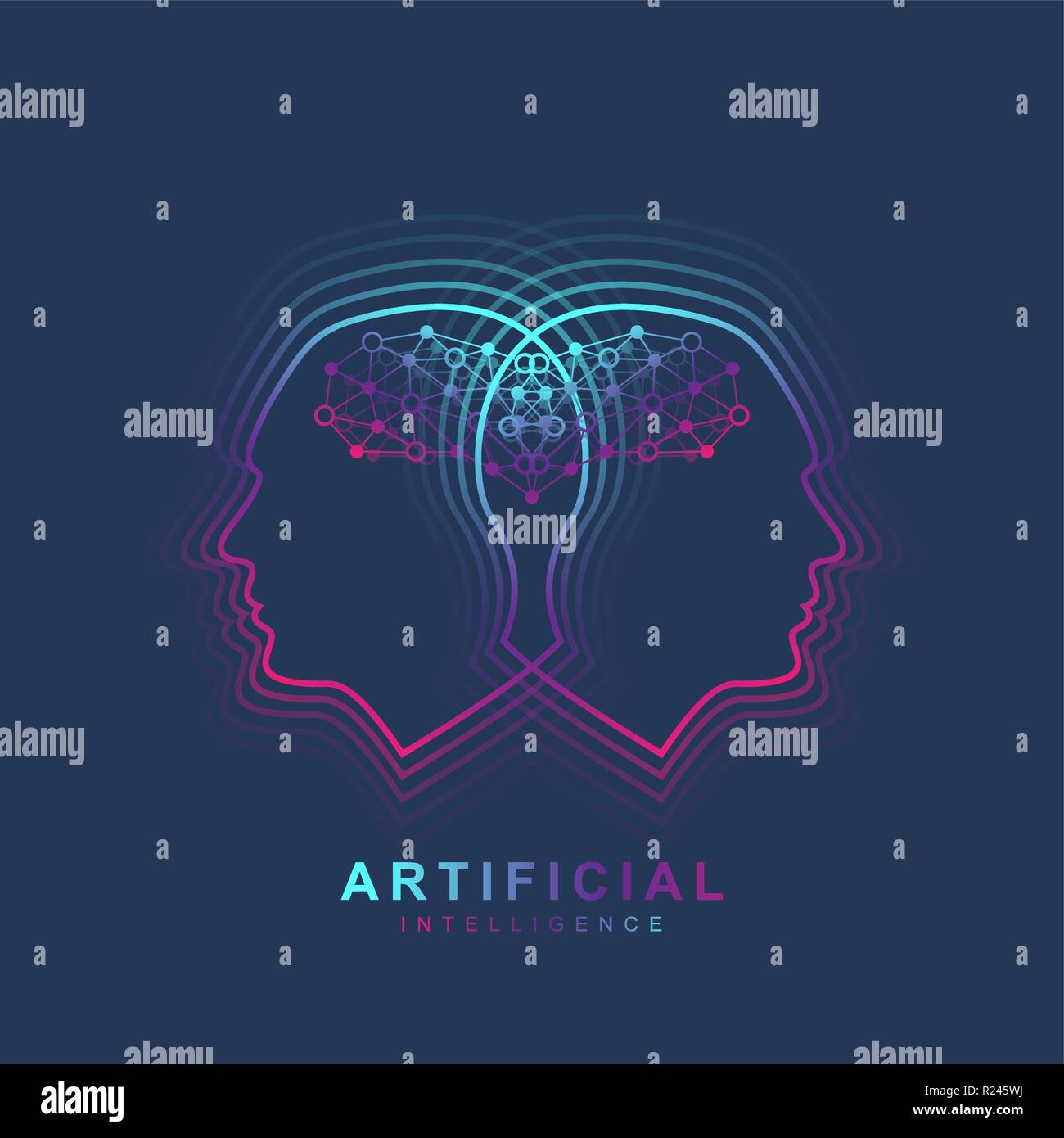 Artificial Intelligence Logo. Artificial Intelligence and Machine Learning Concept. Vector symbol AI. Neural networks and another modern technologies concepts. Technology sci-fi concept. Stock Vector