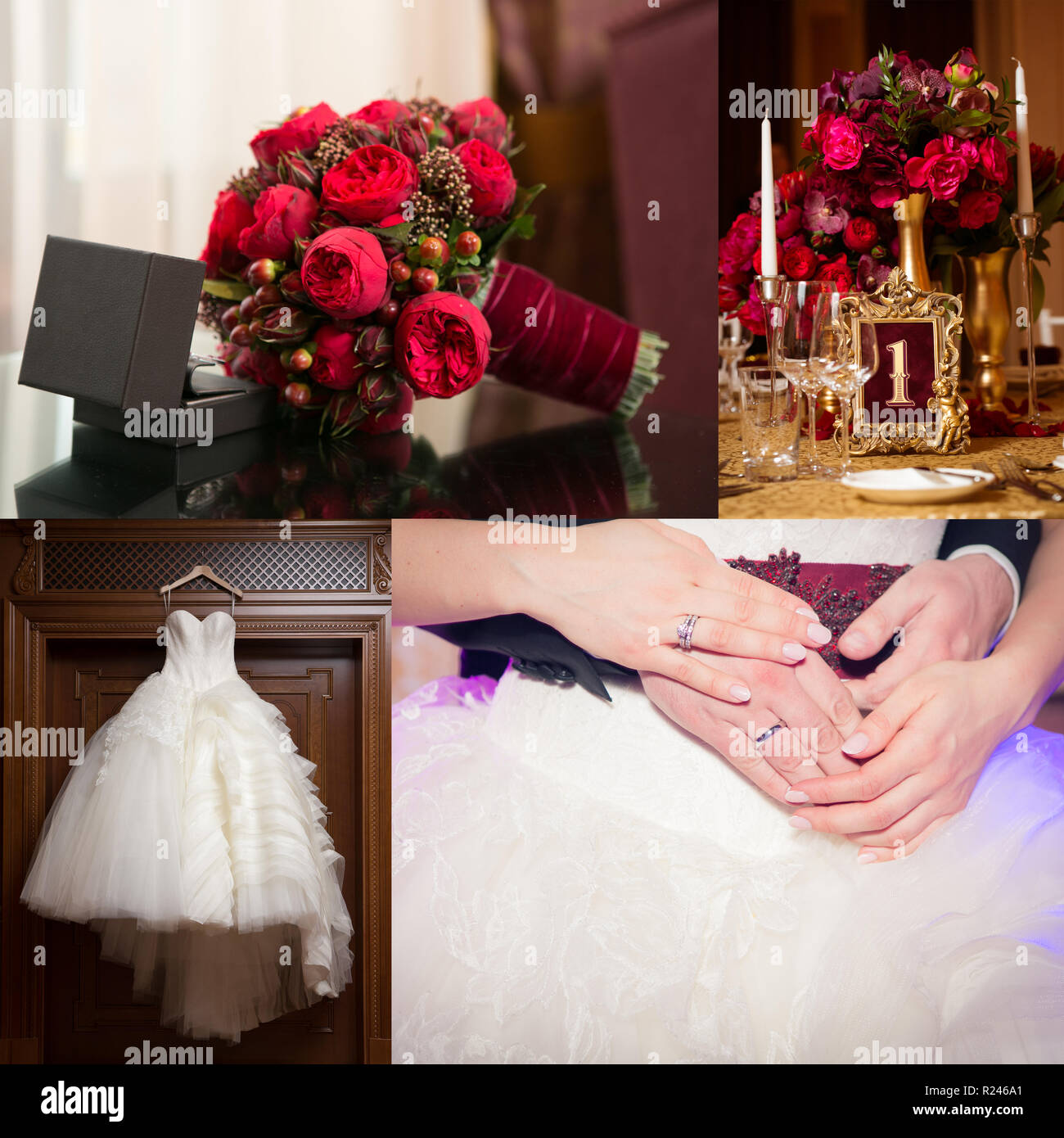 Collage Of Wedding Photos Ring In A Box Of Brand Bridal Bouquet