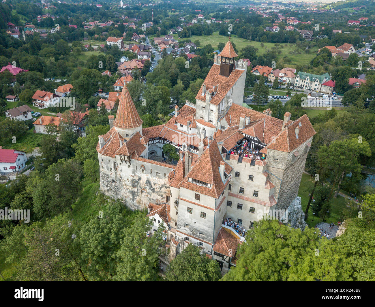 Aerial Panorama Of Dracula Castle At Bran Transylvania Romania Widely Associated With Vlad Tepes Near Brasov Stock Photo Alamy