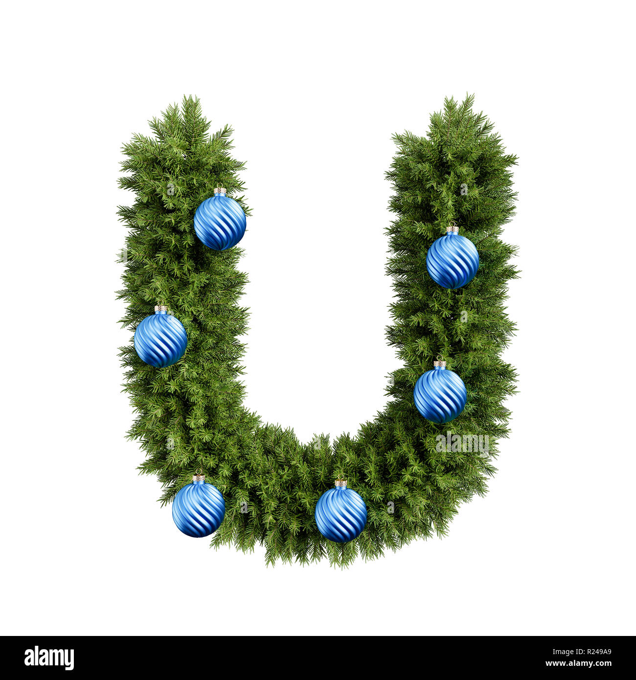 Christmas alphabet ABC character letter U font with Christmas ball