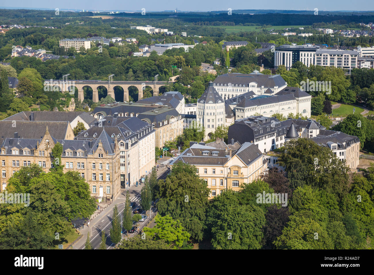 City view looking towards The Judiciary City and train viaduct, Luxembourg City, Luxembourg, Europe - Stock Image
