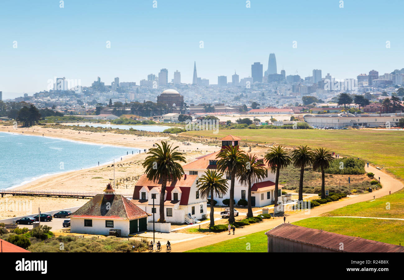 Crissy Field East Beach and skyline of San Francisco, California, United States of America, North America Stock Photo