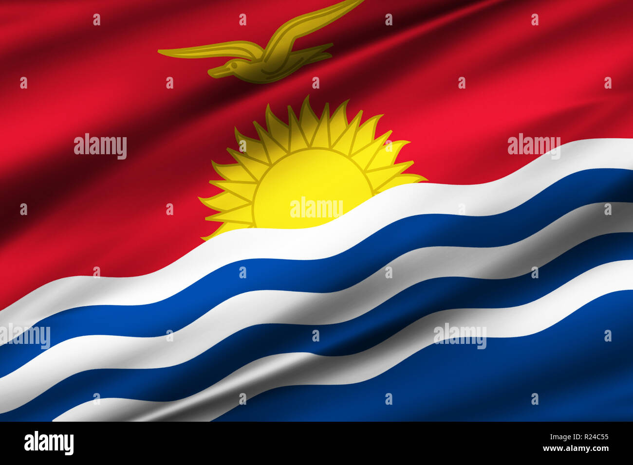 Kiribati 3D waving flag illustration. Texture can be used as background. - Stock Image