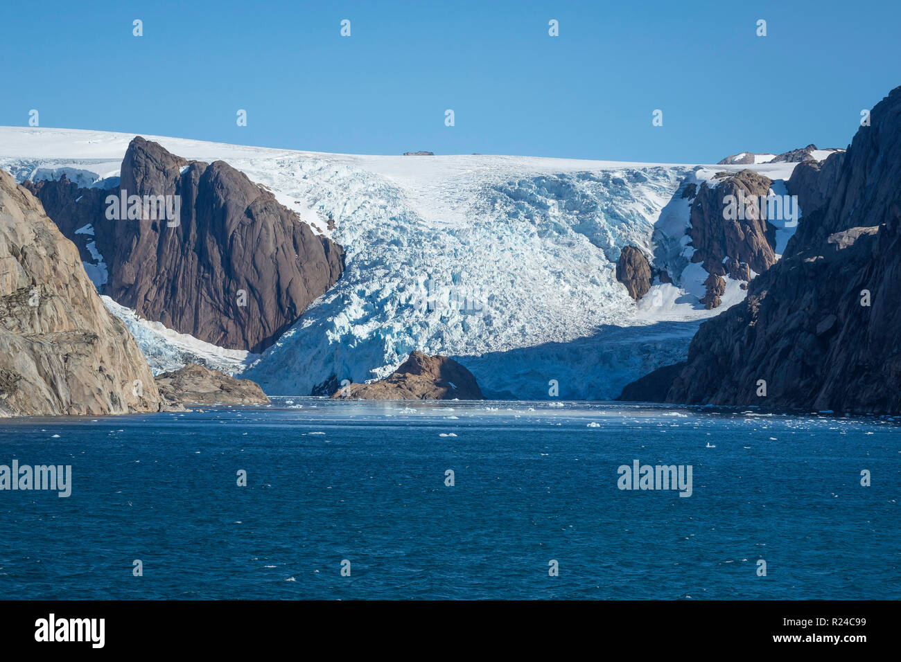 Glacier, Prince Christian Sound, southern Greenland, Polar Regions - Stock Image