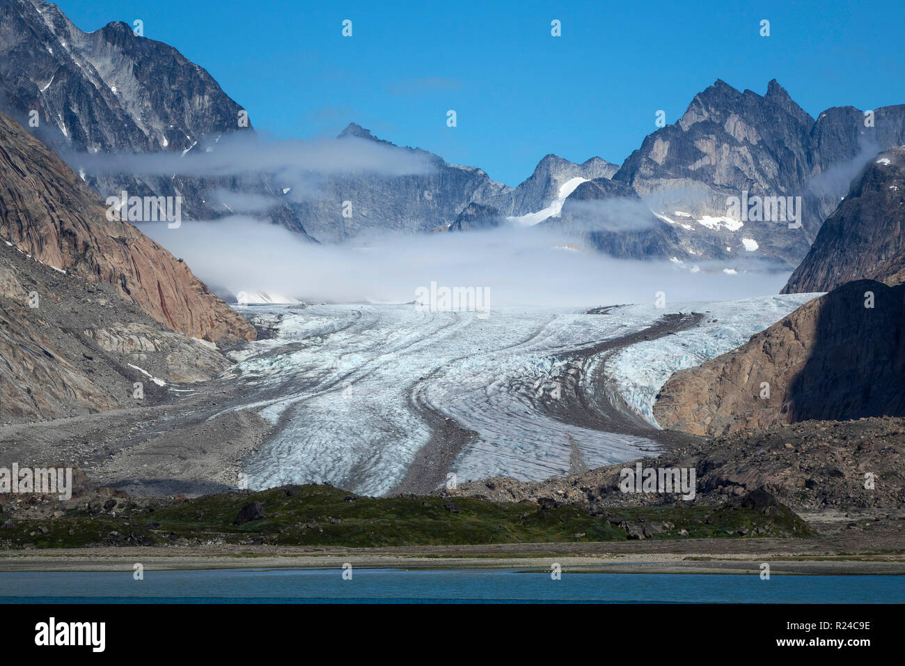 Glacier and peaks, Prince Christian Sound, southern Greenland, Polar Regions - Stock Image
