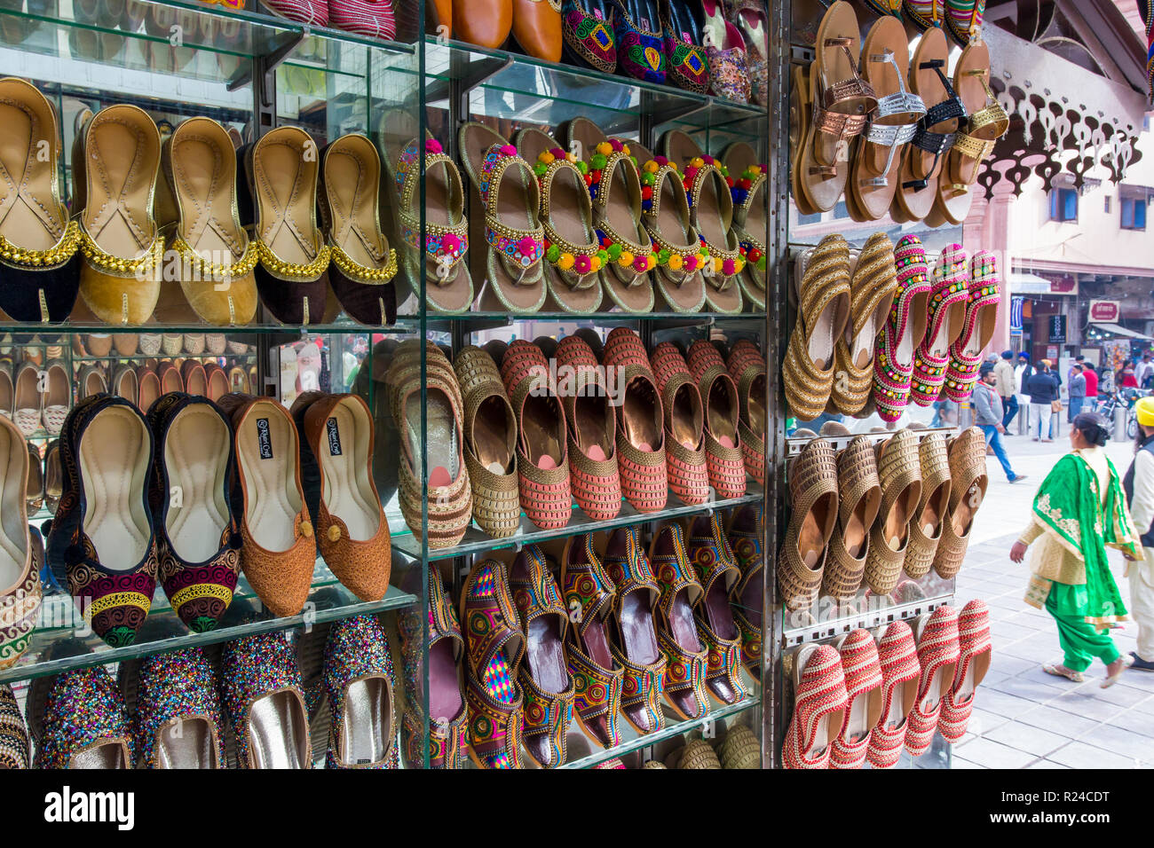 Traditional Indian slippers for sale, Amritsar, Punjab, India, Asia Stock Photo
