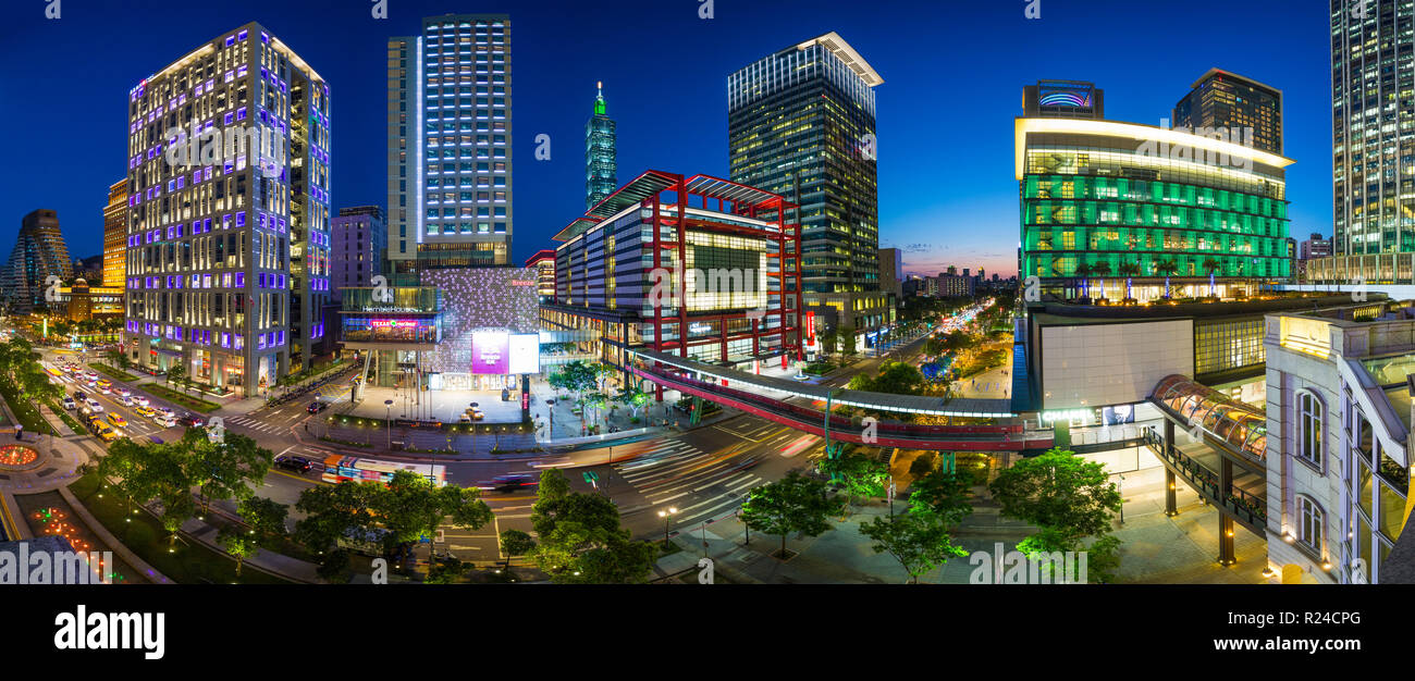 Xinyi downtown district, the prime shopping and financial district of Taipei, Taiwan, Asia Stock Photo