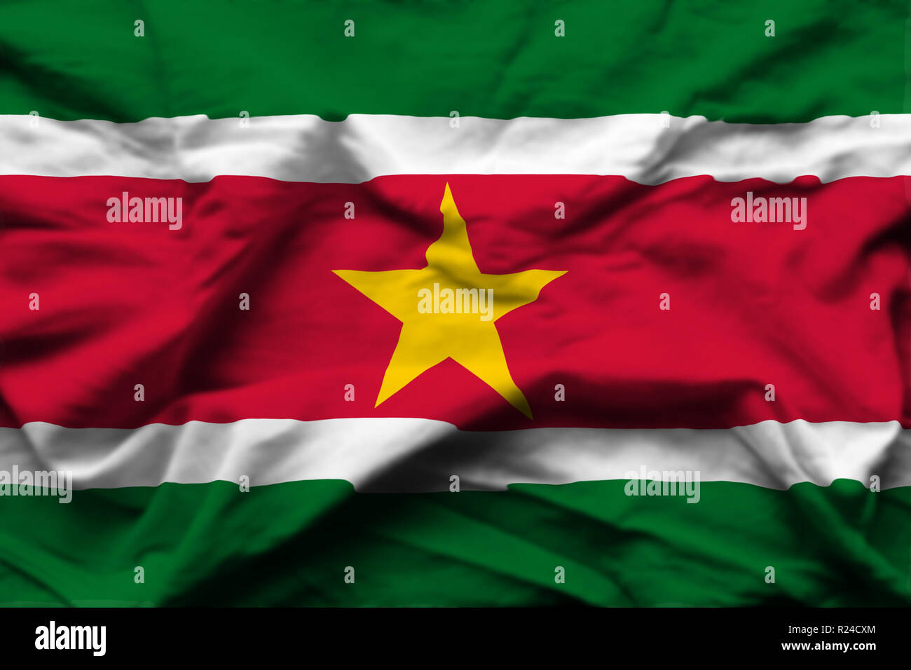 Suriname 3D wrinkled flag illustration. Usable for background and texture. - Stock Image