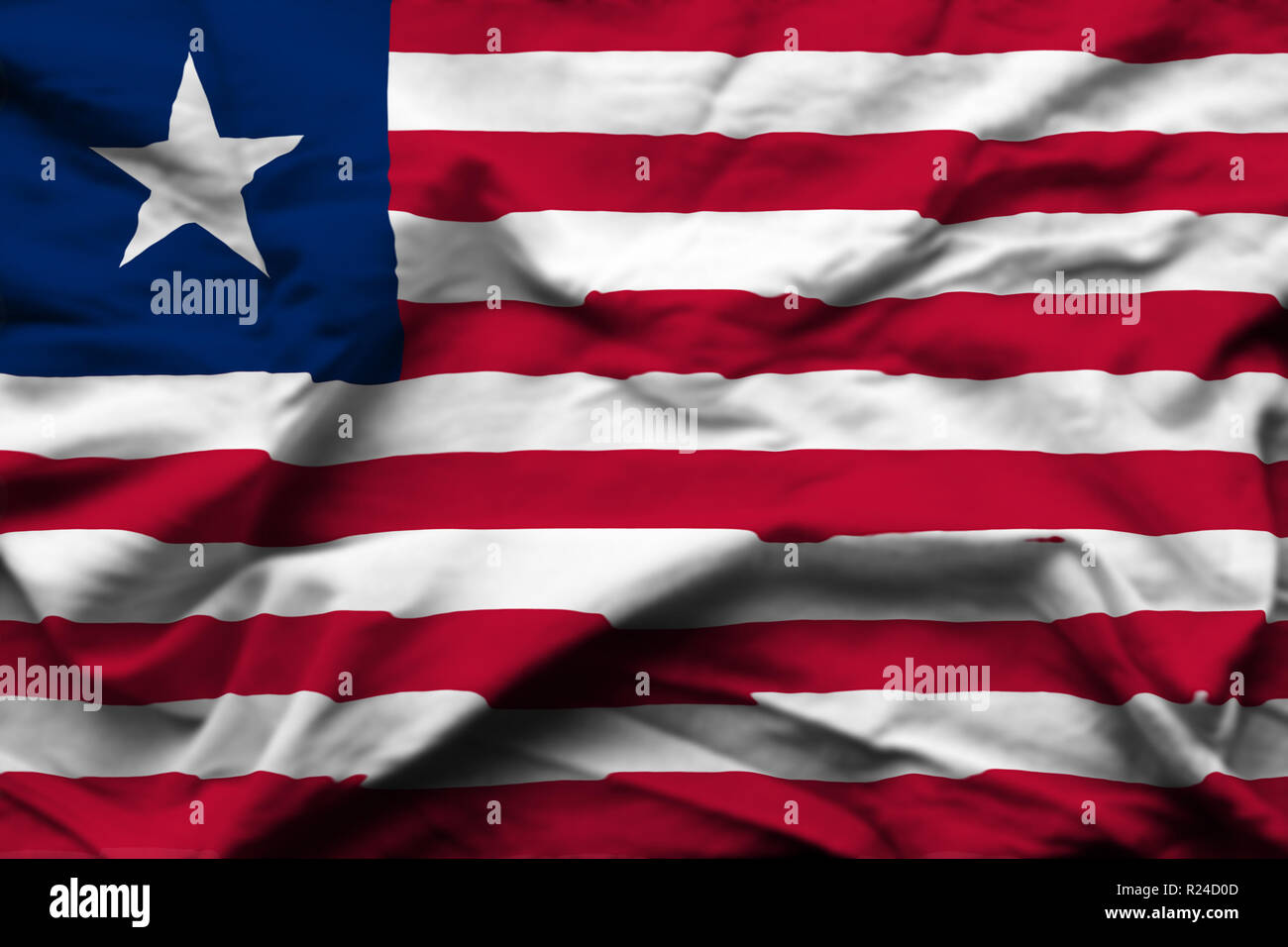 Liberia 3D wrinkled flag illustration. Usable for background and texture. - Stock Image