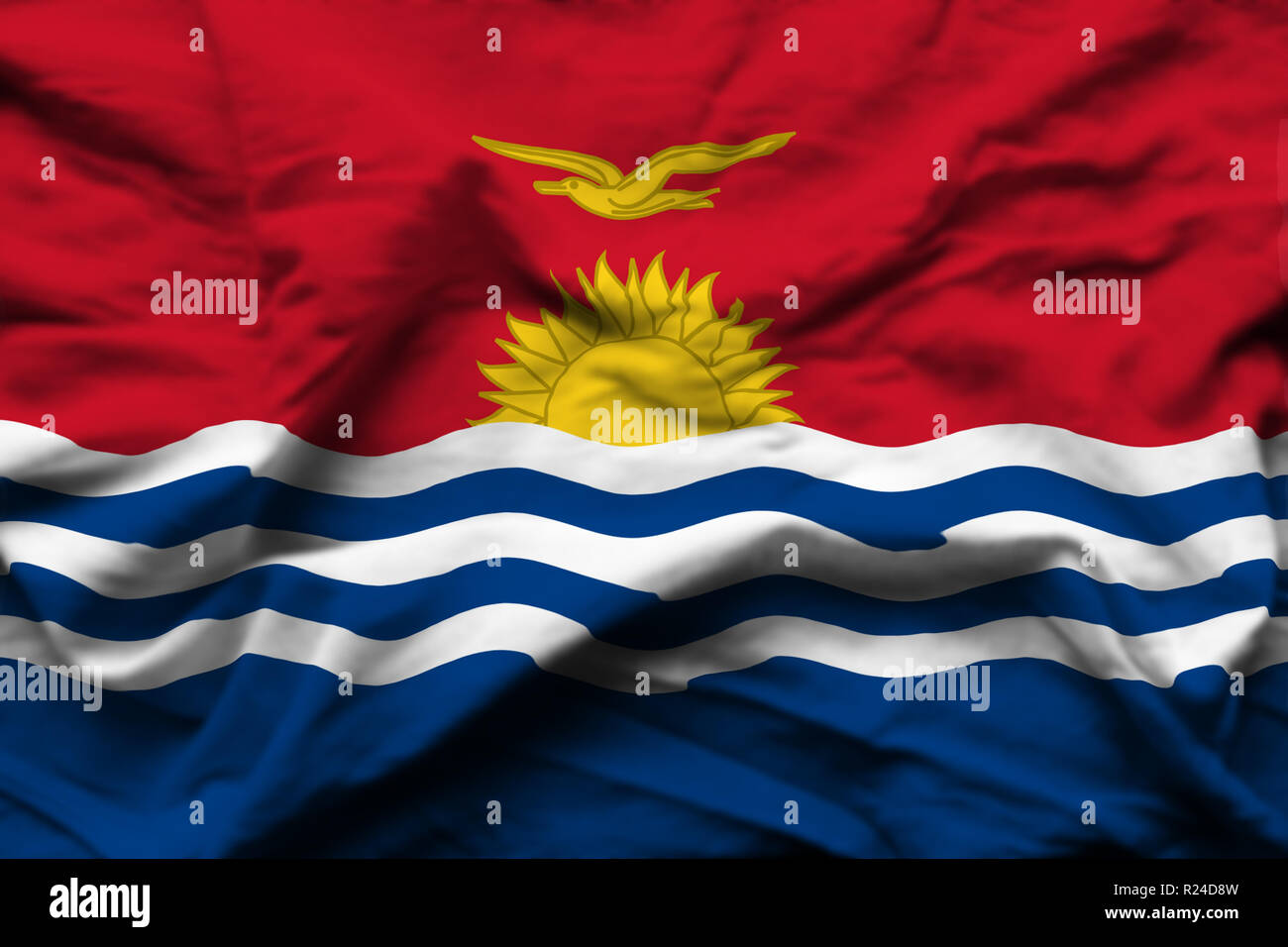 Kiribati 3D wrinkled flag illustration. Usable for background and texture. - Stock Image