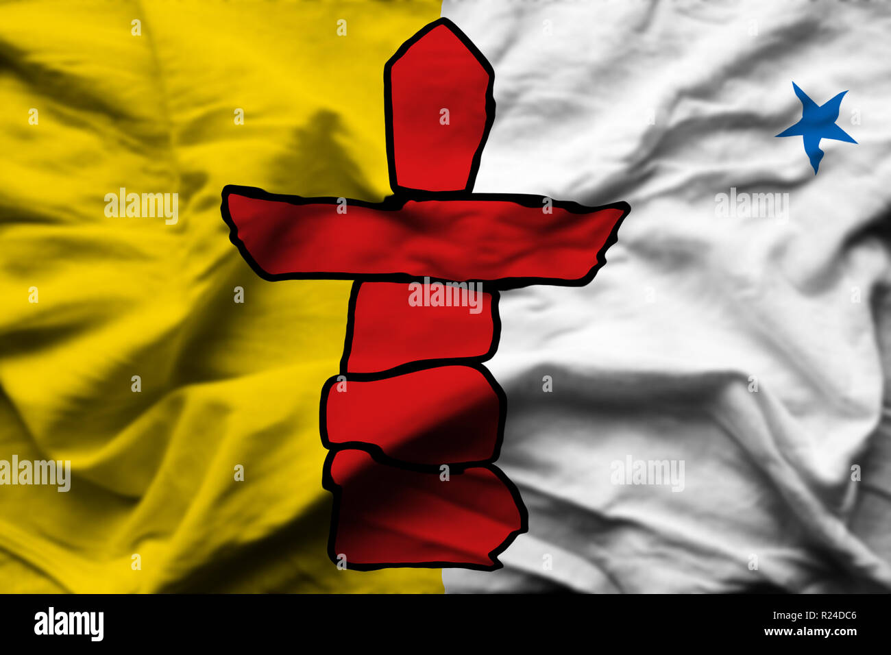 Nunavut 3D wrinkled flag illustration. Usable for background and texture. - Stock Image
