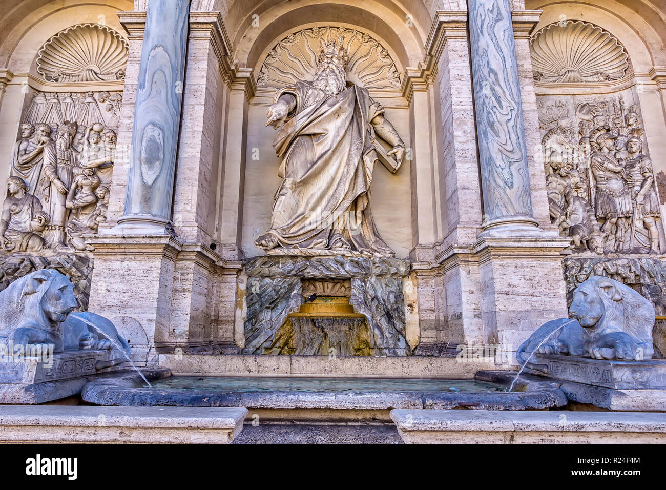 Rome, Italy - June 11, 2017; Rome, Italy, The Fontana dell'Acqua Felice, also called the Fountain of Moses (happy water fountain). Moses is depicted a - Stock Image