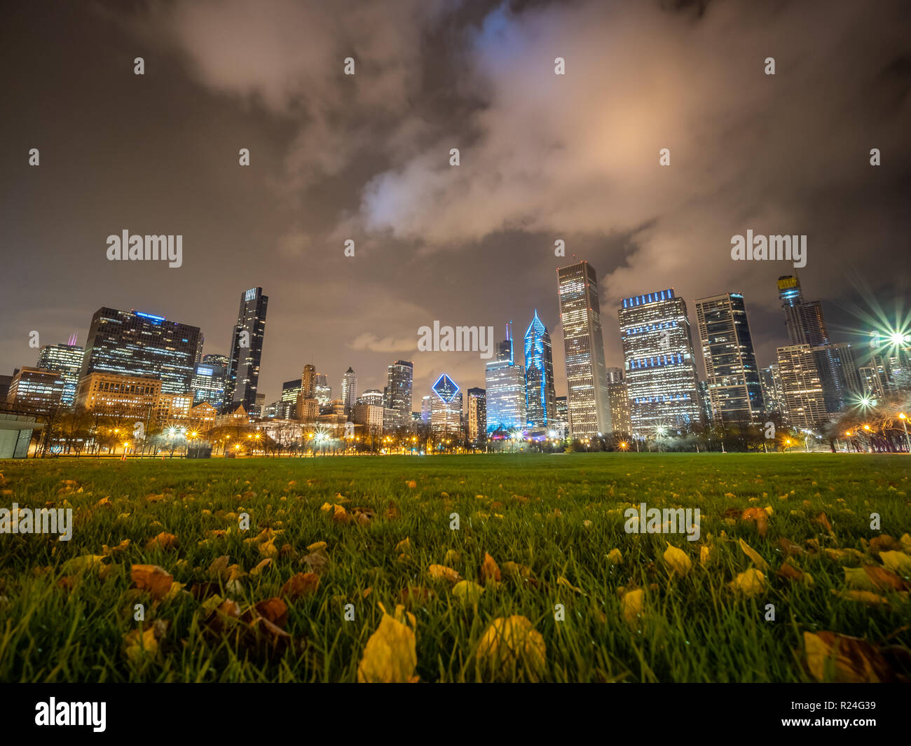 Low Angle Picture of Downtown Chicago Skyline During Winter Night - Stock Image