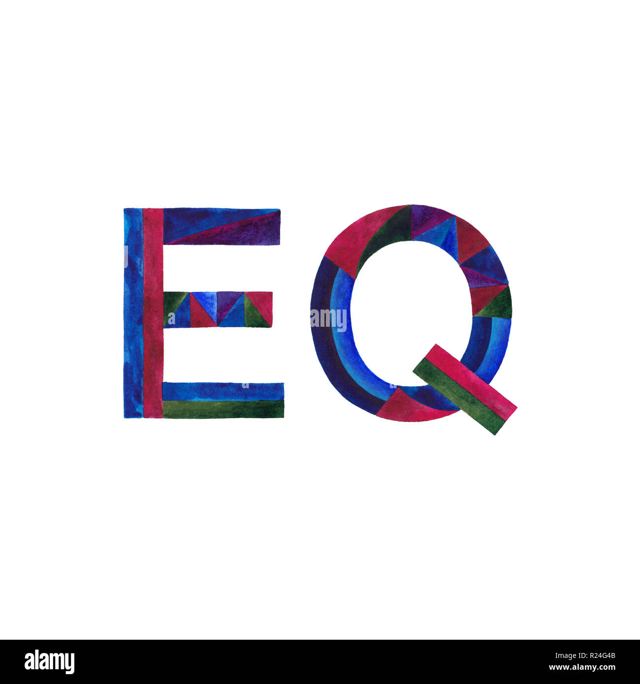 EQ watercolor hand painted sign illustration. Emotional quotient symbol. - Stock Image