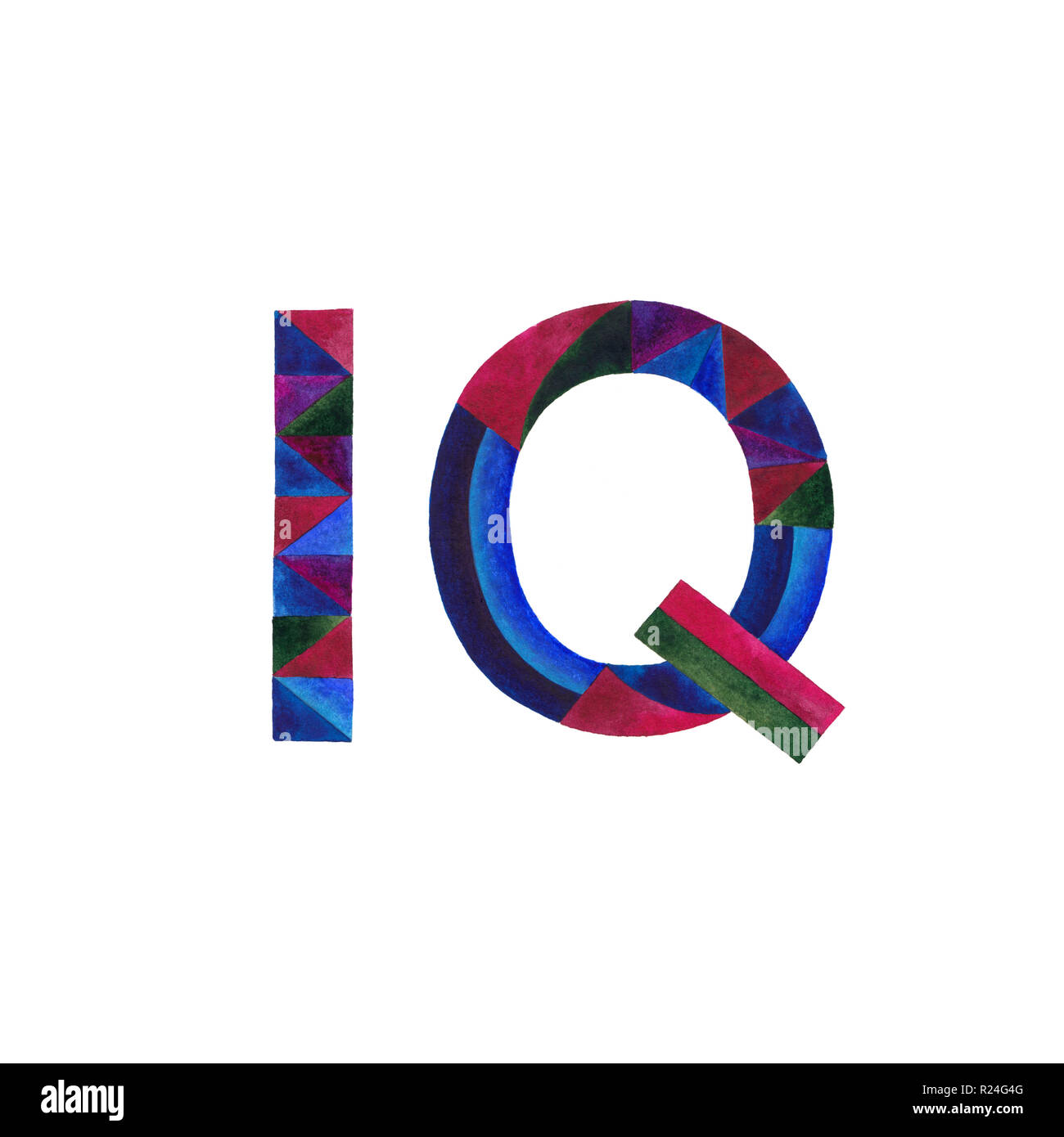 IQ watercolor hand painted sign illustration. Intelligence quotient symbol. - Stock Image